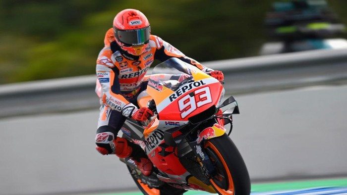 JEREZ DE LA FRONTERA, SPAIN - APRIL 30: Marc Marquez of Spain and Repsol Honda Team heads down a straight during Free Practice for the MotoGP of Spain at Circuito de Jerez on April 30, 2021 in Jerez de la Frontera, Spain. (Photo by Mirco Lazzari gp/Getty Images)