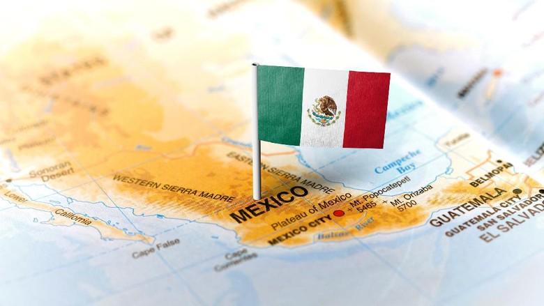 Peta dan bendera Meksiko