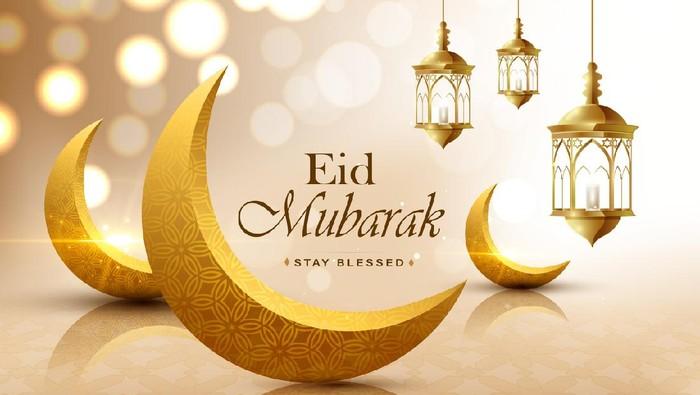 Eid mubarak, realistic 3D looking crescent moon, wish greeting poster, illustration vector
