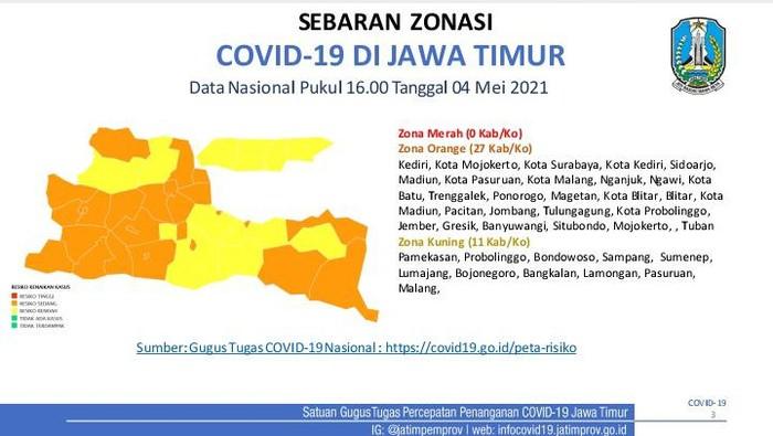 Menjelang Larangan Mudik, Ini Sebaran Zonasi COVID-19 di 38 Kab/Kota Jatim