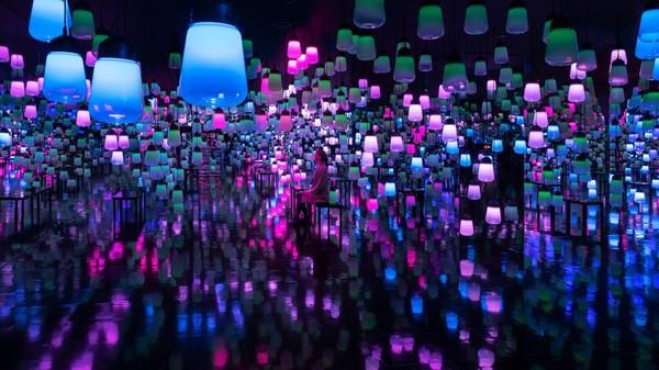 Lampu diberi warna-warna cantik yang bisa berubah sesuai musim.(Team Lab)