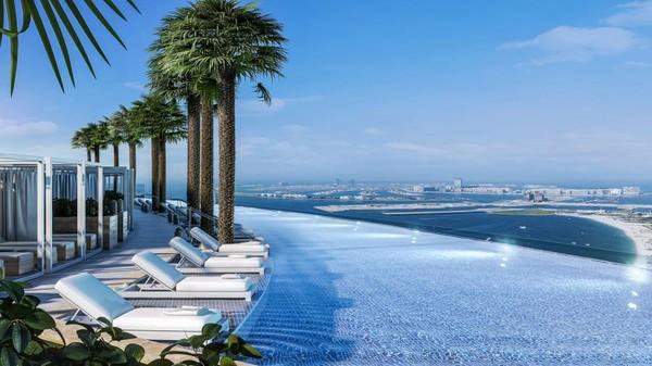 Panjang kolam membentang sejauh 93,84 meter dan lebar 16,5 meter. Ukurannya hampir dua kali kolam olimpiade. (Address Hotel+Resort)