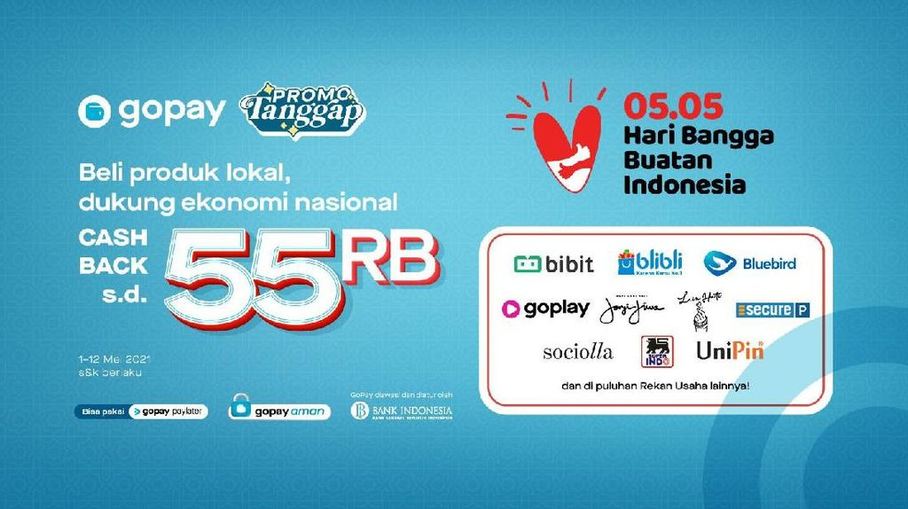 Hari Bangga Buatan Indonesia, GoPay Beri Cashback hingga Rp 55 Ribu