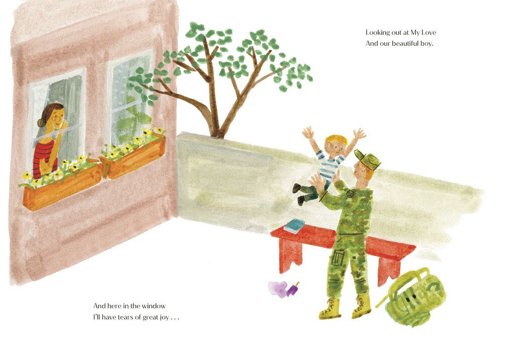 In this photo provided by Random House on Tuesday, May, 4, 2021, of an interior spread from The Bench, the debut children's book written by Meghan, the Duchess of Sussex, with illustrations by artist Christian Robinson. Meghan, the Duchess of Sussex, is releasing her first children's book next month. Random House Children's Books announced Tuesday, May 4, 2021 that