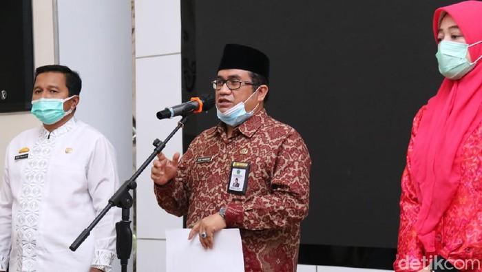 Jumpa pers ketentuan salat Idul Fitri 1442 H di Kota Palembang, Sumsel. (Foto. Prima Syahbana/detikcom)
