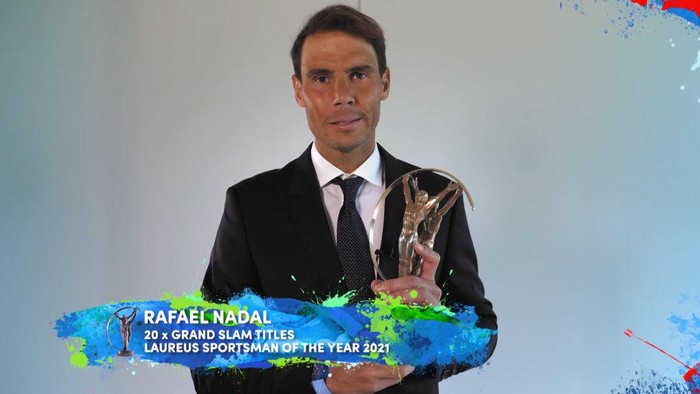 UNSPECIFIED - UNSPECIFIED DATE: In this handout screengrab released on May 6 , Rafael Nadal speaks after winning the Laureus World Sportsman of the Year Award during the Laureus World Sports Awards 2021 Virtual Award Ceremony. (Photo by Handout/Laureus via Getty Images)