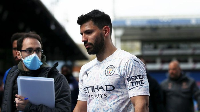 LONDON, ENGLAND - MAY 01: Sergio Aguero of Manchester City looks on following the Premier League match between Crystal Palace and Manchester City at Selhurst Park on May 01, 2021 in London, England. Sporting stadiums around the UK remain under strict restrictions due to the Coronavirus Pandemic as Government social distancing laws prohibit fans inside venues resulting in games being played behind closed doors. (Photo by Steven Paston - Pool/Getty Images)