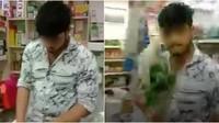 Duh! Pembeli Ini Dipukul Sayuran Gegara Tanya Harga Minuman ke Pegawai Toko