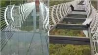 Bikin Jantungan! Lagi Naik Jembatan Kaca, Eh Kacanya Copot