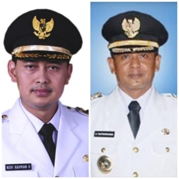 Bupati Nganjuk masa bakti 2018-2023 Novi Rahman Hidayat dan Mantan Bupati Nganjuk Taufiqurrahman