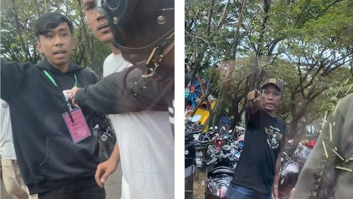 Tangkapan layar video viral aksi jukir liar di Makassar (dok. Istimewa).