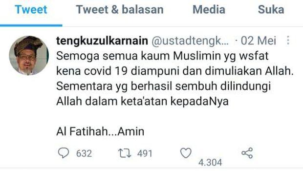 Tangkapan layar cuitan terakhir Ustaz Tengku Zulkarnain