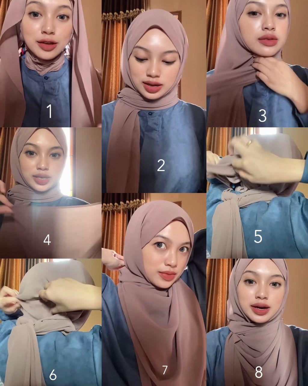 Tutorial hijab pashmina syari untuk Hari Idulfitri 2021.