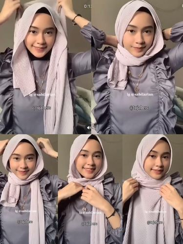 Tutorial hijab plisket untuk Hari Idul fitri 2021.