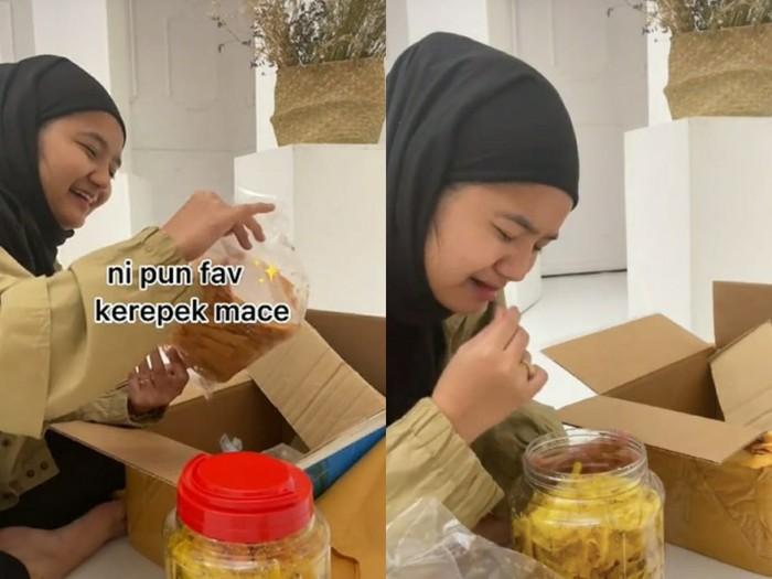 Wanita ini nangis dapat kiriman makanan dari sang ibu karena tidak bisa pulang kampung.
