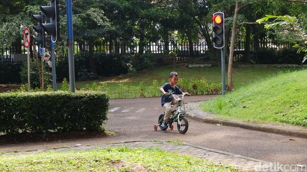 Sementara untuk anak usia dini bermain perosotan, berswafoto, atau bermain di rumah pohon Taman Lalu Lintas bersama keluarga.