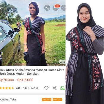 Baju Andin yang viral di media sosial.