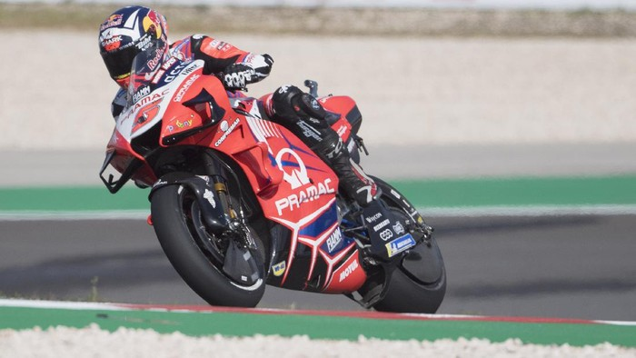 PORTIMAO, PORTUGAL - APRIL 16: Johann Zarco of France and Pramac Racing heads down a straight during the MotoGP of Portugal - Free Practice at Autodromo Internacional Do Algarve on April 16, 2021 in Portimao, Portugal. (Photo by Mirco Lazzari gp/Getty Images)