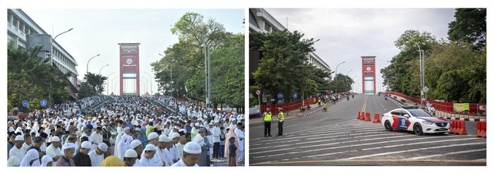 Foto kolase perbandingan suasana Shalat Idul Fitri 1440 H di Jembatan Ampera Palembang, Sumatera Selatan, sebelum adanya pandemi COVID-19 (kiri) dan saat pandemi (kanan), Kamis (13/5/2021).  Pemerintah Kota Palembang bersama Kemenag Palembang, Polrestabes dan Kodim 0418/Palembang melarang warga untuk melaksanakan Shalat Idul Fitri 1442 H di masjid secara menyeluruh dan menganulir izin shalat berdasarkan zonasi kelurahan sebelumnya. ANTARA FOTO/Nova Wahyudi/hp.