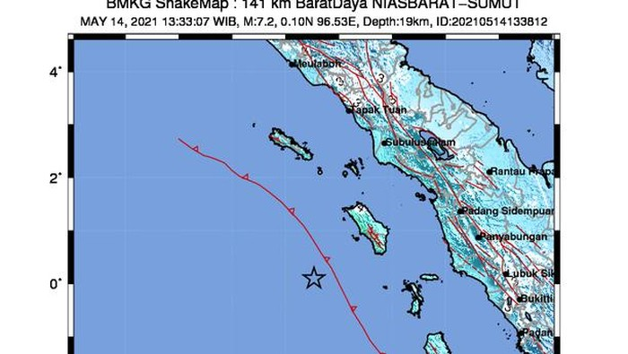 Shake map gempa M 7,2 di Nias Barat Sumut
