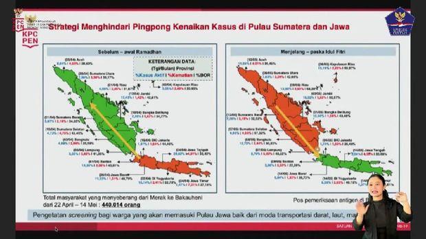 Kondisi kasus Corona di Sumatera dan Jawa sebelum serta setelah lebaran (dok Satgas COVID-19)