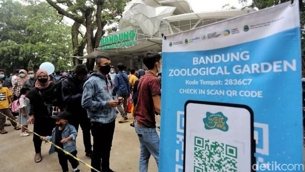 Meski terjadi kerumunan di luar pintu masuk, Yana menilai prokes di Kebun Binatang Bandung sudah diterapkan sesuai aturan.