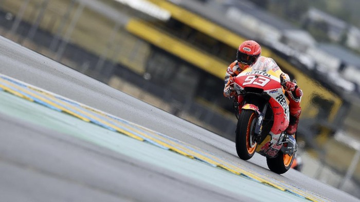 MotoGP rider Marc Marquez of Spain steers his motorcycle during the French Motorcycle Grand Prix in Le Mans, France, Sunday, May 16, 2021. (AP Photo/David Vincent)