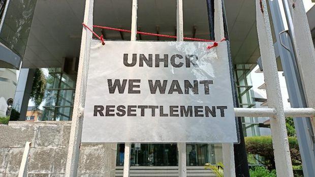 Pencari suaka asal Afghanistan demo di depan UNHCR (Karin-detikcom)
