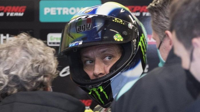 LE MANS, FRANCE - MAY 14: Valentino Rossi of Italy and Petronas Yamaha SRT looks on in box during the MotoGP of France - Practice at  on May 14, 2021 in Le Mans, France. (Photo by Mirco Lazzari gp/Getty Images)