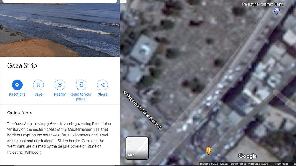 Gaza di Palestina Diburamkan Google Earth