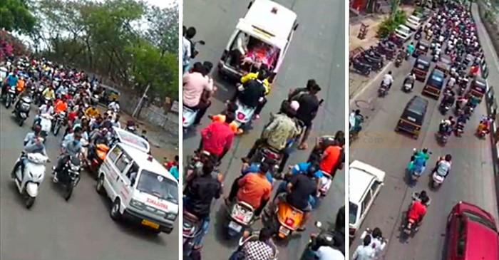 Ratusan Pemotor Konvoi Antar Jenazah saat Lockdown