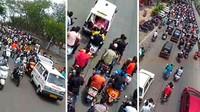 India Dilanda Tsunami COVID-19, Ratusan Pemotor Berkerumun Antar Jenazah