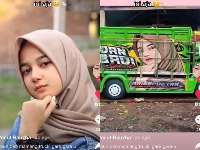 Kisah Cut Rauzha Amalia  yang fotonya dijadikan gambar belakang truk dan angkutan umum.