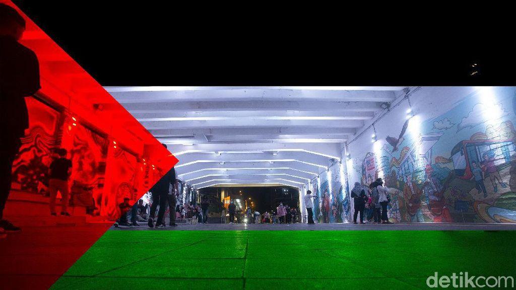 Potret Lampu Berwarna Bendera Palestina di JPO dan Terowongan Jakarta