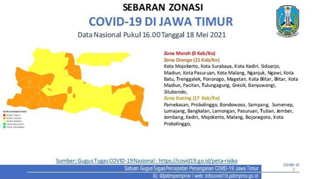 Usai Lebaran, 17 Kabupaten/Kota di Jatim Zona Kuning COVID-19