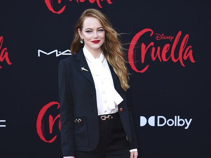 Emma Stone arrives at the premiere of Cruella at the El Capitan Theatre on Tuesday, May 18, 2021, in Los Angeles. (Photo by Jordan Strauss/Invision/AP)