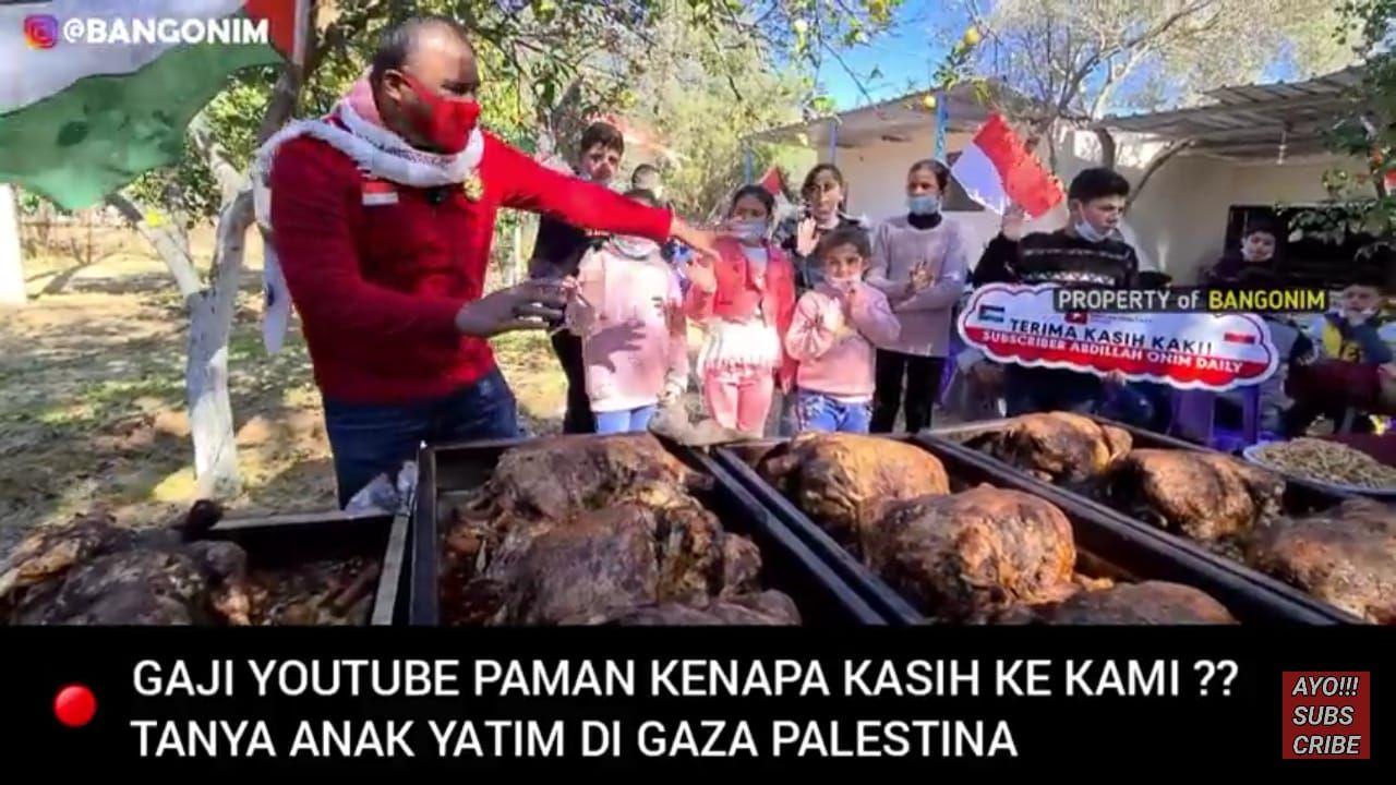 Mulia! Youtuber Ini Donasikan Penghasilannya untuk Beri Makan Anak Yatim di Palestina