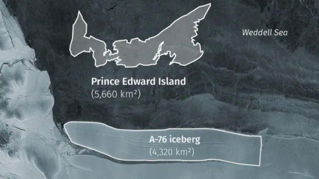 Penampakan Gunung Es Terbesar yang Mengapung di Lautan