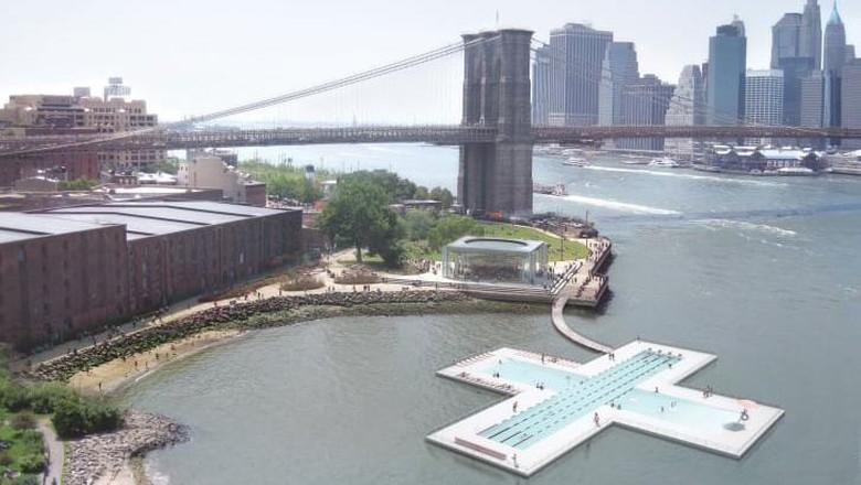 Kolam renang terapung + Pool di New York