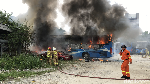 Potret Bus Transjabotabek Hangus Terbakar