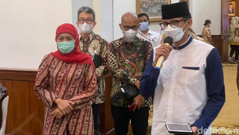 Sandiaga Uno bertemu Khofifah hari Jumat ini di kantornya di Surabaya (21/5).