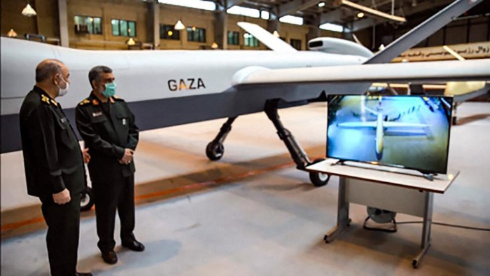 General Hossein Salami (L) and Amir Ali Hajizadeh commander of Aerospace Force of the IRGC, unveiling a new combat drone called
