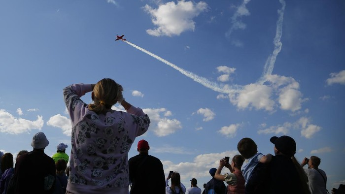 Planes perform during the Sky, Theory and Practice festival at airfield
