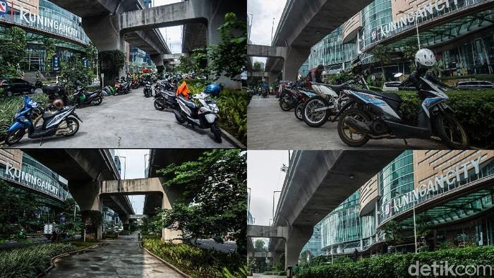 Kolong Jalan Layang Non Tol (JLNT) Casablanca, Jakarta, dahulu menjadi tempat parkir motor. Kini, kawasan tersebut bersih dari parkir liar usai diberi palang S.