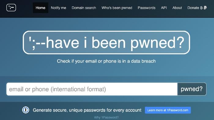 Situs Have I Been Pwned, salah satu tempat untuk mengecek kebocoran data pribadi.