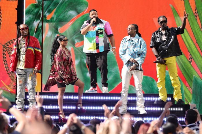 LOS ANGELES, CALIFORNIA - MAY 23: (L-R) In this image released on May 23, Takeoff of Migos, DJ Khaled, and Quavo and Offset of Migos perform onstage for the 2021 Billboard Music Awards, broadcast on May 23, 2021 at Microsoft Theater in Los Angeles, California.   Rich Fury/Getty Images for dcp/AFP (Photo by Rich Fury / GETTY IMAGES NORTH AMERICA / Getty Images via AFP)