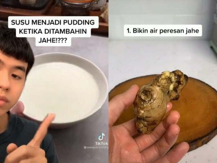 Air jahe bisa mengubah susu jadi puding bertekstur lembut.