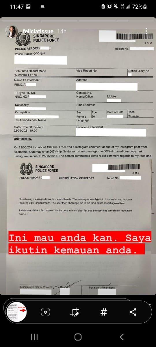Felicia Tissue lapor ke polisi Singapura