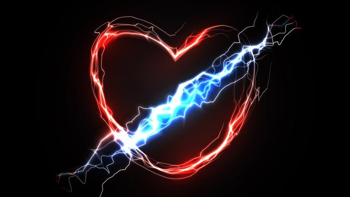 Thunderbolt in heart. Love and feelings associated with love. Abstract symbol of passion and love energy. Vector illustration