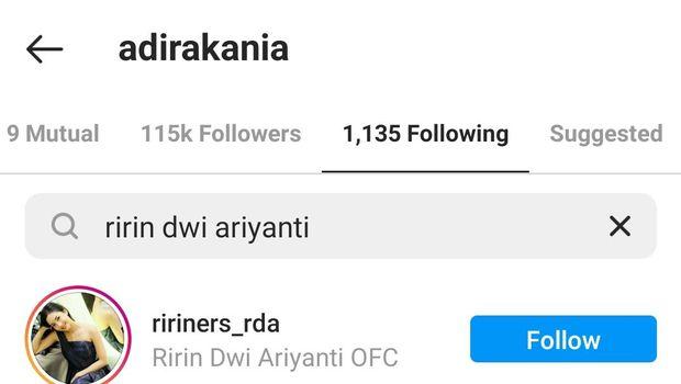 Ririn Dwi Ariyanti saling unfollow dengan putri Aldi Bragi, Siti Adira Kania
